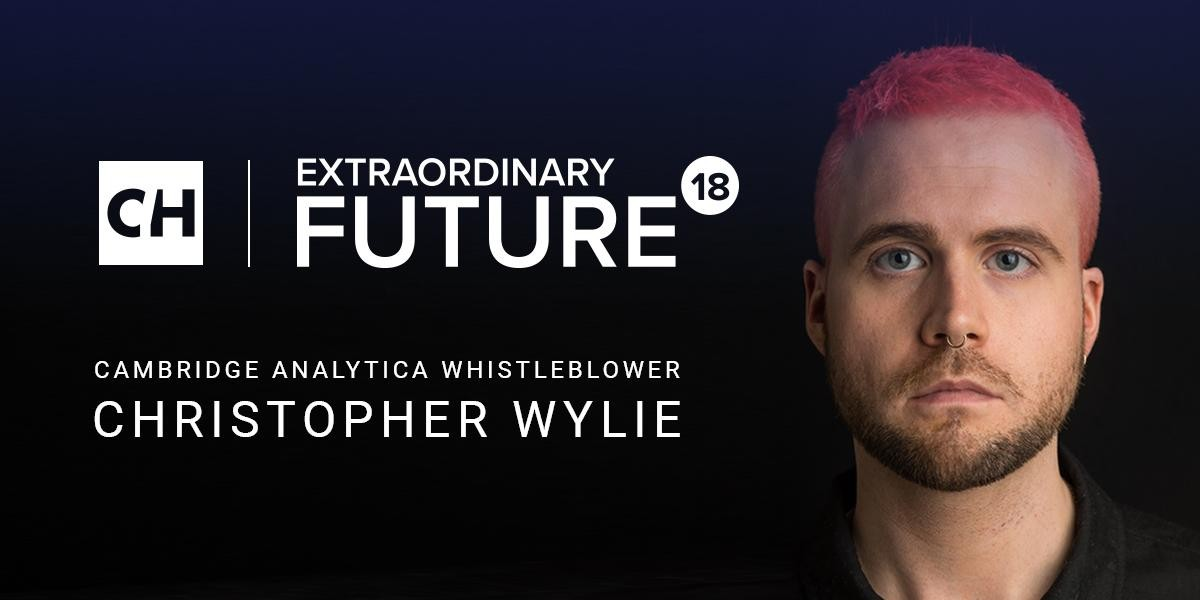 Photo: Cambridge Analytica Whistleblower, Christopher Wylie, Keynotes Extraordinary Future 18